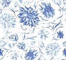 Elegant Pattern with Indigo Flowers by kisikoida