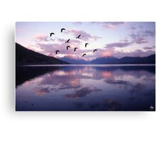 Geese Over Glacier Lake Canvas Print
