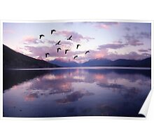Geese Over Glacier Lake Poster