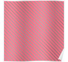 Bright Teal Pinstripe on Neon Pink Poster
