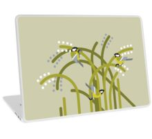 Three Great Tits vector illustration Laptop Skin