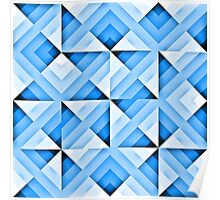 white and blue triangle background Poster
