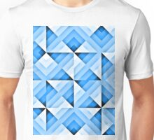 white and blue triangle background Unisex T-Shirt