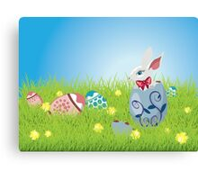 Easter Bunny and Grass Field Canvas Print