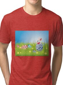 Easter Bunny and Grass Field Tri-blend T-Shirt