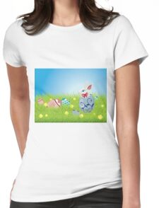 Easter Bunny and Grass Field Womens Fitted T-Shirt