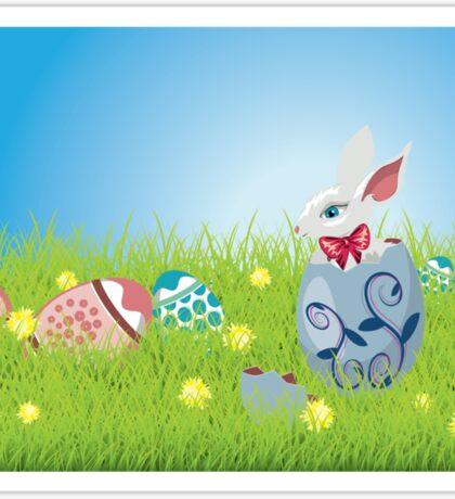 Easter Bunny and Grass Field Sticker