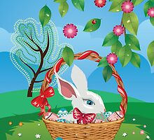 Easter Bunny and Grass Field 2 by AnnArtshock