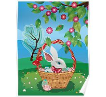 Easter Bunny and Grass Field 2 Poster