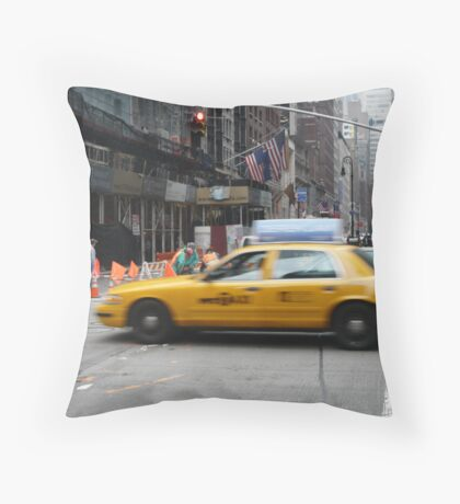 Busy New York Street Throw Pillow
