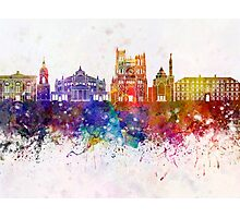 Amiens skyline in watercolor background Photographic Print