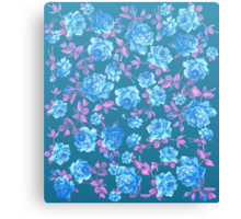 Whimsical Blue and Pink Rose Floral Pattern Canvas Print