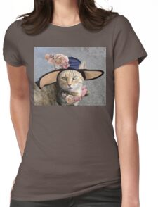 PRINCESS TATUS / ELEGANT CAT WITH DIVA HAT AND PINK ROSES  Womens Fitted T-Shirt