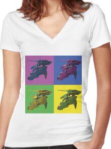 Rex Pop art Women's Fitted V-Neck T-Shirt