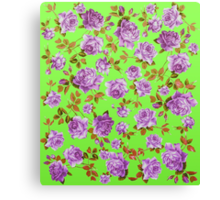 Vintage Purple Roses on Neon Green Background Canvas Print