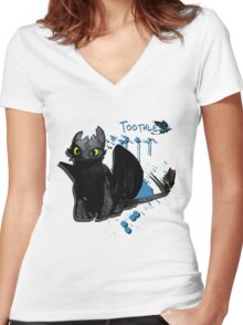 How to train your dragon - Toothless Splatter Women's Fitted V-Neck T-Shirt