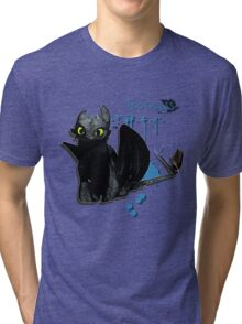 How to train your dragon - Toothless Splatter Tri-blend T-Shirt