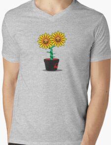 Siamese Sunflower Mens V-Neck T-Shirt