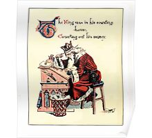 The Song Of Sixpence Pocket Book 1909 Walter Crane 21 - Tje King was in his Counting House Counting Out his Money Poster