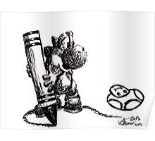 Yoshi Ink Doodle Poster