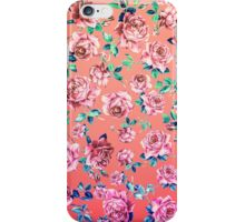 Girly Pink, Teal, and Blue Rose Floral Print iPhone Case/Skin