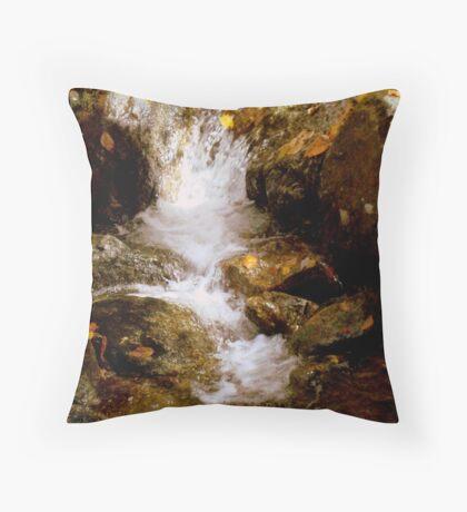 Mini Waterfall - A Brook at Crabtree Falls  Throw Pillow