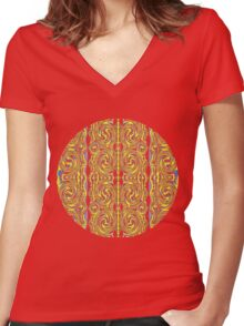 psychedelic Swirls Women's Fitted V-Neck T-Shirt