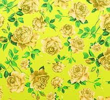 Vintage Yellow Roses on Neon Yellow Background by Blkstrawberry