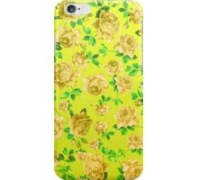 Vintage Yellow Roses on Neon Yellow Background iPhone Case/Skin