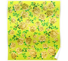 Vintage Yellow Roses on Neon Yellow Background Poster