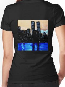 The Twin Towers at Night Women's Fitted V-Neck T-Shirt