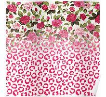 Pink Rose Floral and Glitter Leopard Print Mash Poster