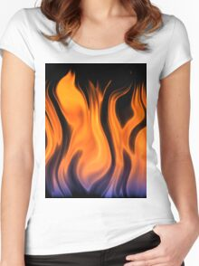 red flame background Women's Fitted Scoop T-Shirt