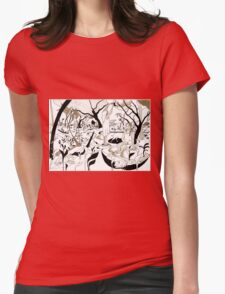 Fruit picking under a tree Womens Fitted T-Shirt
