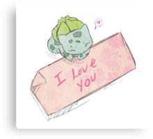 Bulbasaur Valentines Canvas Print