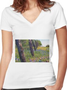 Flowers and Fence Posts Women's Fitted V-Neck T-Shirt