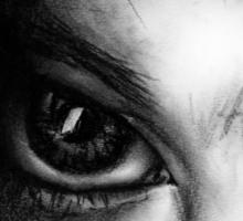 Eye Detail 1 - 1 - Charcoal - Black and White Sticker
