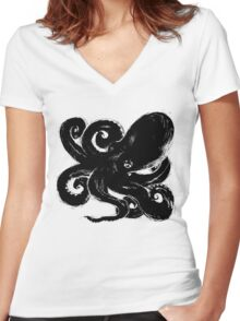 Inktopus - Sumi Octopus Women's Fitted V-Neck T-Shirt