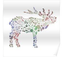 Floral Reindeer Poster