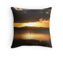 Lone fisherman at Wallis Lake Throw Pillow