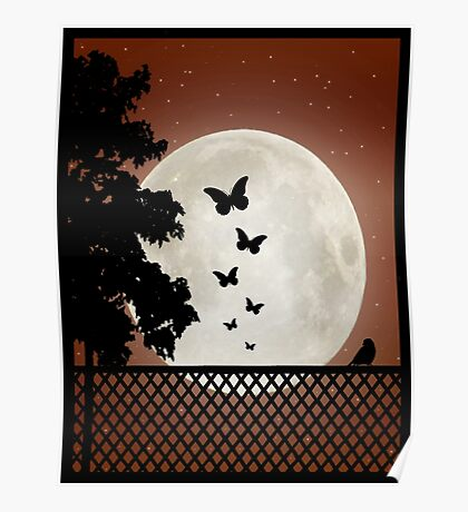 Flutter by moon sihouette Poster