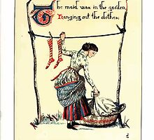 The Song Of Sixpence Pocket Book 1909 Walter Crane 26 - The Maid was in the Garden Hanging Out the Clothes by wetdryvac