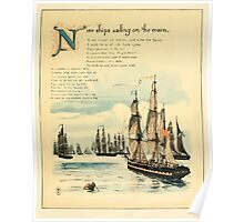 The Buckle My Shoe Picture Book by Walter Crane 1910 53 - Nine Ships Sailing on te Main Poster