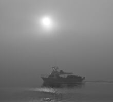 Cray boat heading out in the morning fog by Ian Berry