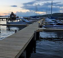 Seneca Lake Marina at Sundown in New York by 1busymom