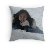 Sledding Fun Throw Pillow