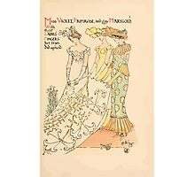 A flower wedding - Described by Two Wallflowers by Walter Crane 1905 15 - Miss Violet, Primrose, and Gay Marygold - Lady's Fingers Photographic Print