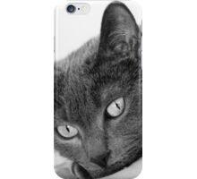 Russian Blue Cats Eyes - B&W iPhone Case/Skin
