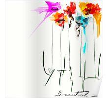 Wispy Flowers Poster