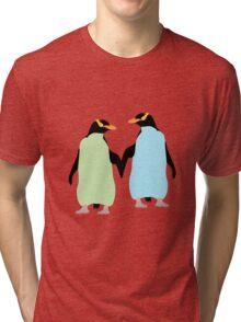 Blue Penguins Holding hands Tri-blend T-Shirt